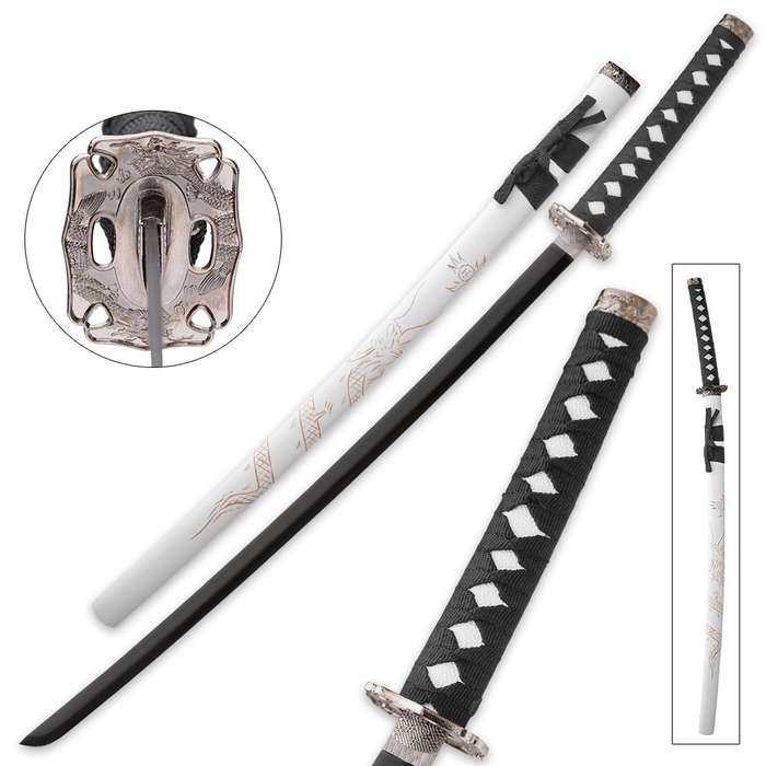 White Flying Dragon Sword With Engraved Scabbard