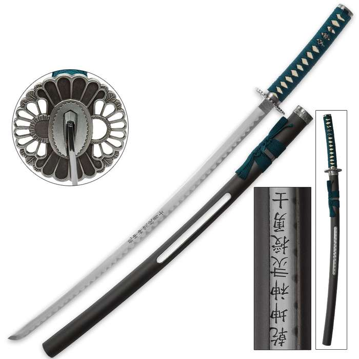 Teal Warrior Samurai Sword With Open Scabbard
