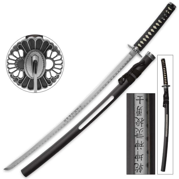 Black Warrior Samurai Sword With Open Scabbard