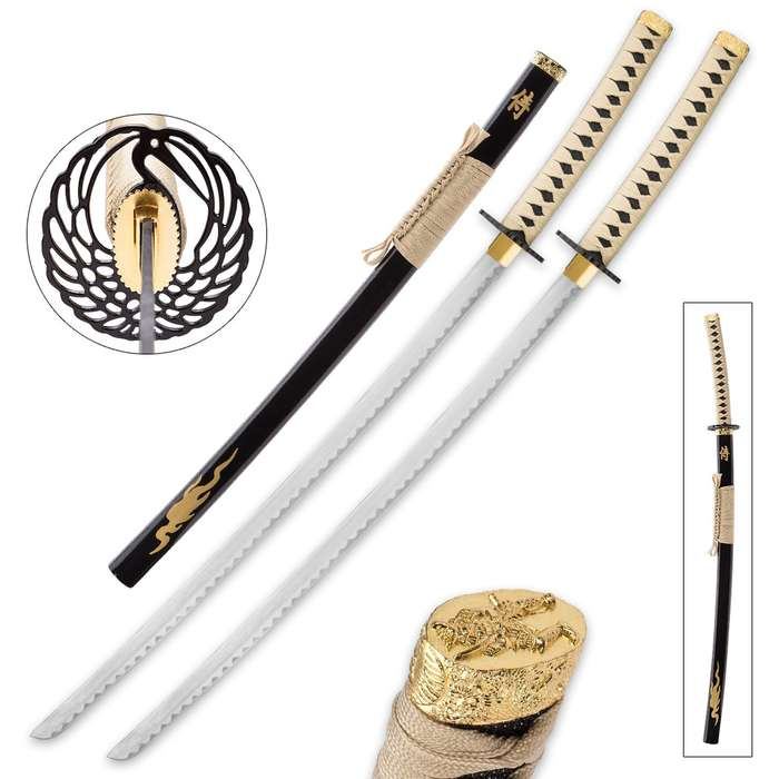 Goldenfire Twin Display Katana Set - Includes Two Display Swords with Scabbards, Wooden Double Stand