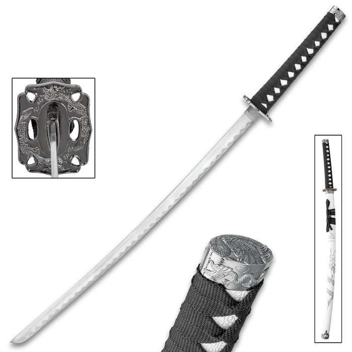 Cloud Dragon Katana With Scabbard - Stainless Steel Blade, Metal Alloy Tsuba, Cord-Wrapped Handle - Length 36 1/2""