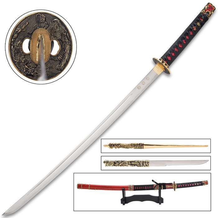 Made in Toledo, Spain, a city with a centuries-long tradition of sword-making, this katana is the perfect accent for the home or office