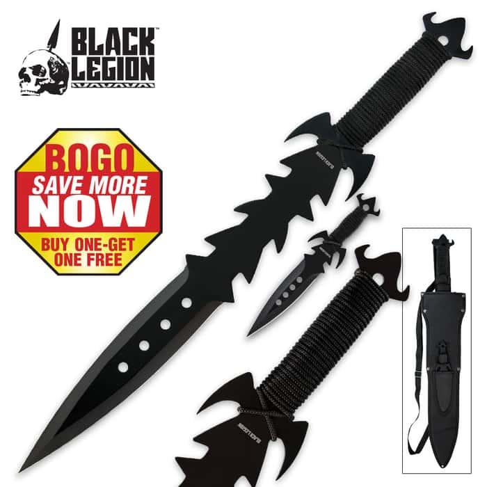 Black Legion Fantasy Sword And Throwing Knife Set - BOGO