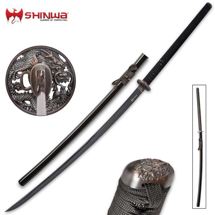 "Shinwa Colossus Yoru Handmade Odachi / Giant Samurai Sword - Exclusive, Hand Forged Black Damascus Steel; Genuine Ray Skin; Dragon Tsuba - Functional, Full Tang, Battle Ready - 60"""
