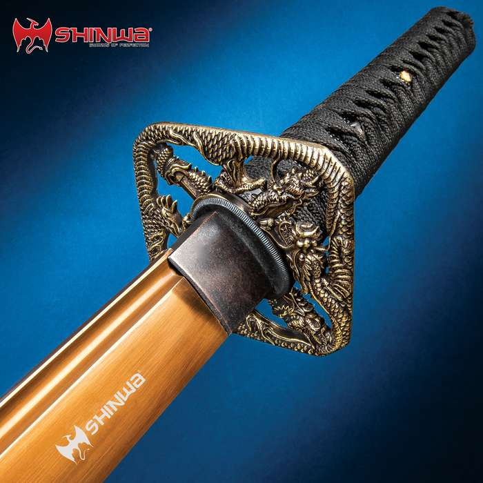 Shinwa Fighting Dragon Katana And Sheath - 1045 Carbon Steel Blade, Cast Metal Alloy Tsuba, Black Brass Habaki, Faux Rayskin - Length 39 1/2""
