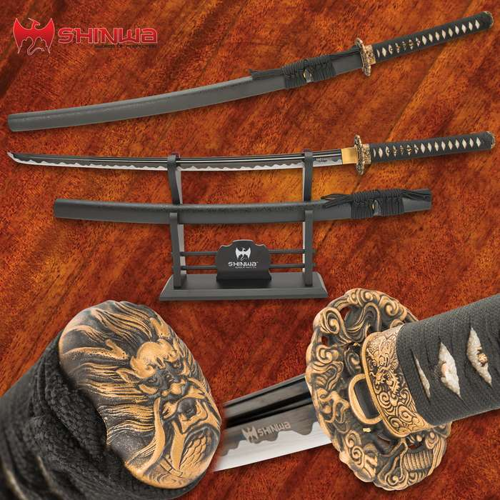 A sword that has been meticulously hand-forged using ancient, time-honored tempering techniques that give it a custom look