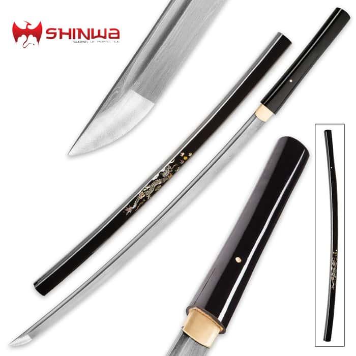 Shinwa Inlaid Pearl And Damascus Shirasaya Sword