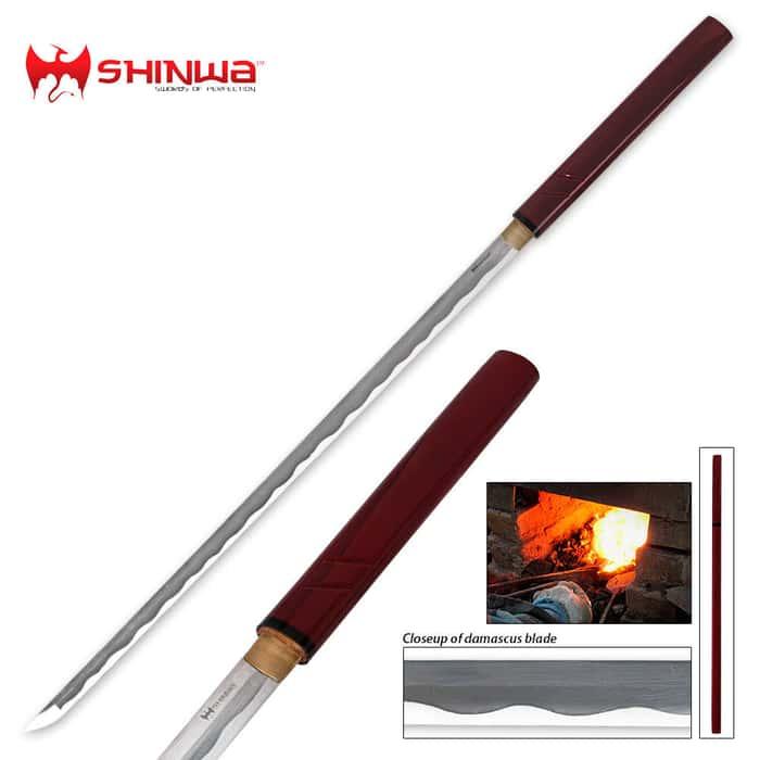 Shinwa Garnet Shirasaya Samurai Sword Damascus Steel Blade