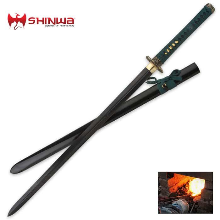 Shinwa Black Dragon Samurai Katana Sword Damascus Steel Blade