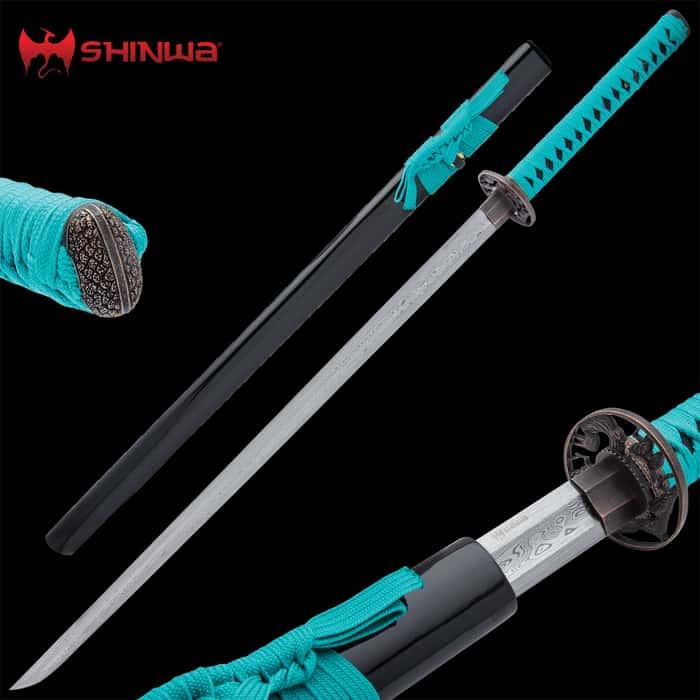 Shinwa Zatoichi Teal Sword Damascus
