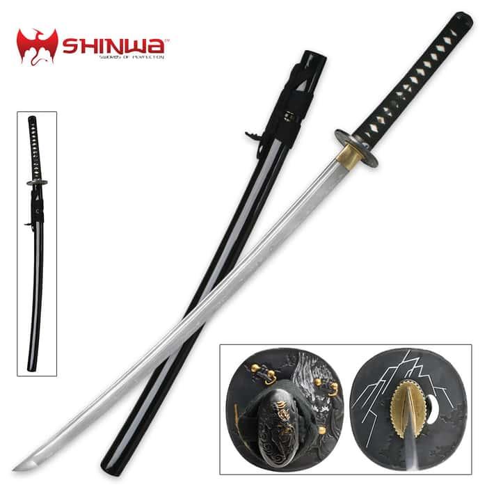 Shinwa Thunder God Battle Katana Sword With Scabbard Black
