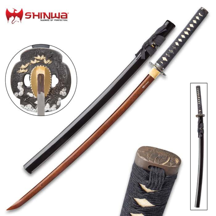 Shinwa Hand Forged Crimson Damascus Steel Katana - Sword