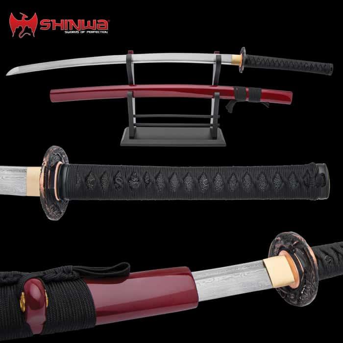Shinwa Regal Black and Maroon Damascus Steel Katana Sword