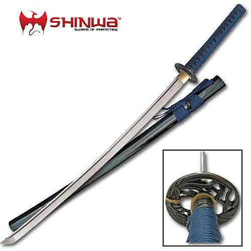 Shinwa Blue and Black Katana Sword Damascus