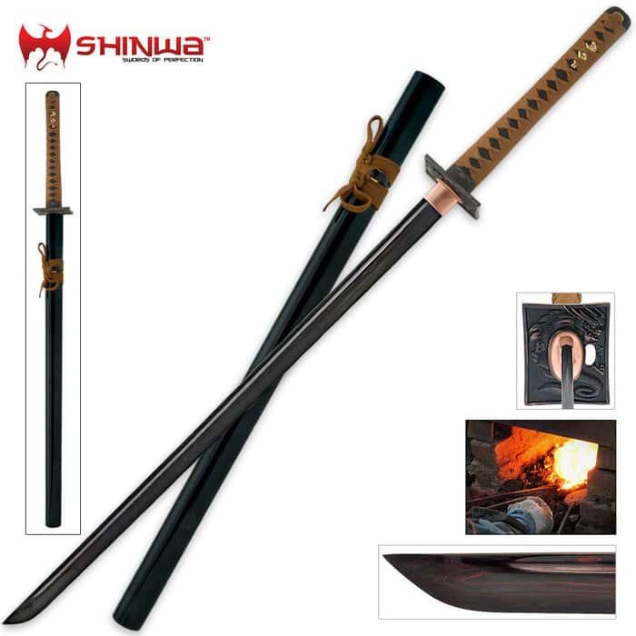 Shinwa Black Knight Samurai Sword Damascus Steel