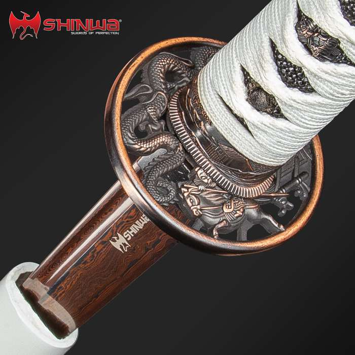 Shinwa White Knight Black Damascus Katana Sword Hand Forged