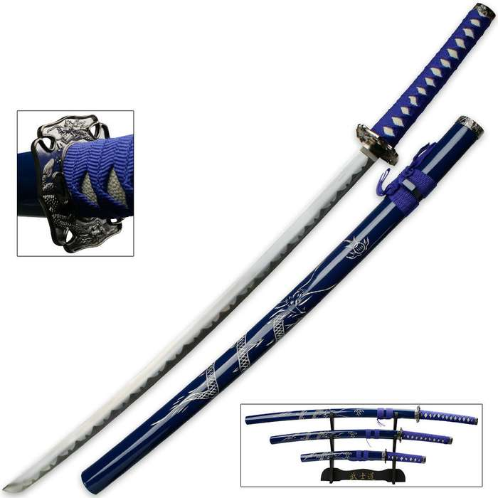 Royal Blue Dragon Three Piece Imperial Samurai Sword Collection With Stand