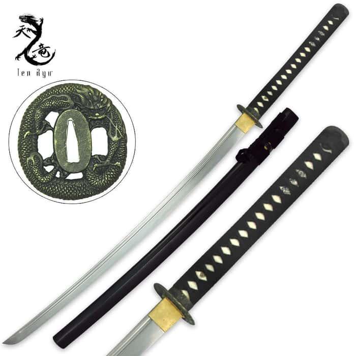 Clay Tempered Dragon Tsuba Ten Ryu Katana Sword With Scabbard