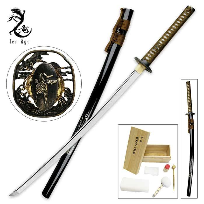 Ten Ryu Mother of Pearl Bamboo Katana Sword Battle Ready