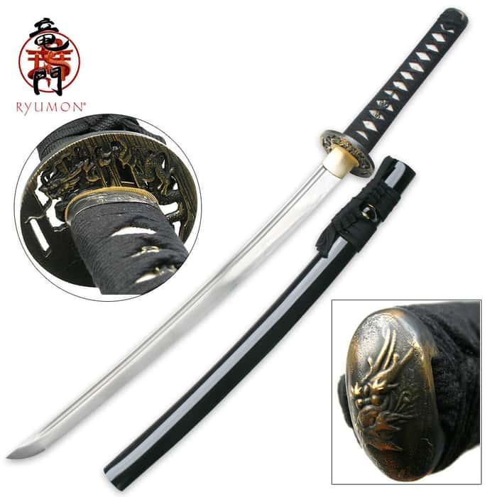 Hand Forged Carbon Steel Ryumon Wakizashi Sword With Scabbard