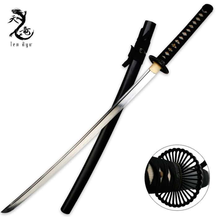 Ten Ryu 1045 Carbon Steel Clay Tempered Chrysanthemum Katana Sword