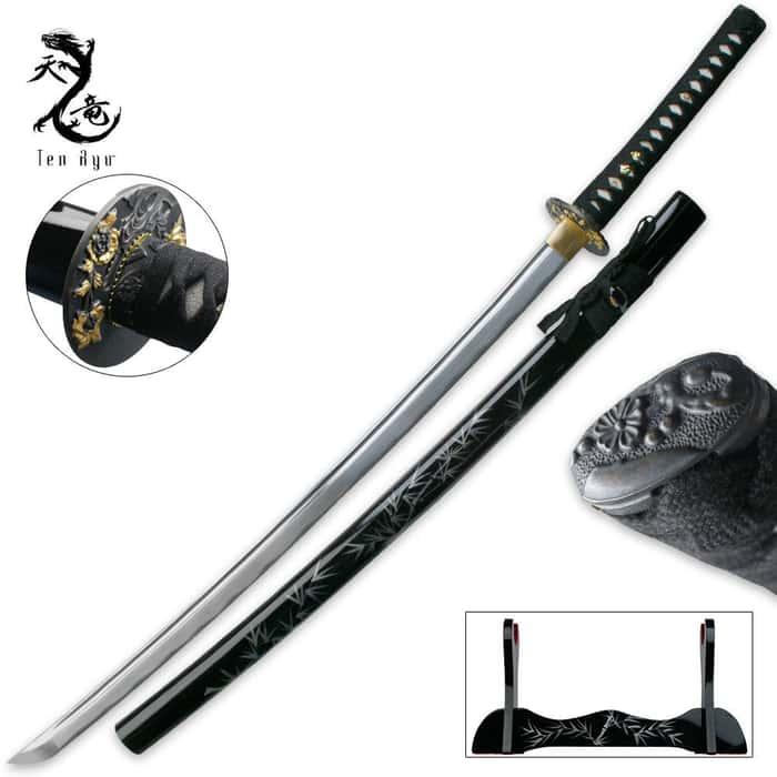 Ten Ryu Damascus Steel Dragon Tsuba Katana Sword
