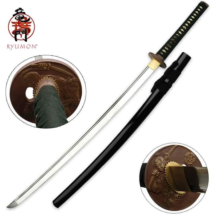 Ryumon 1060 Carbon Steel Samurai Katana Sword With Scabbard