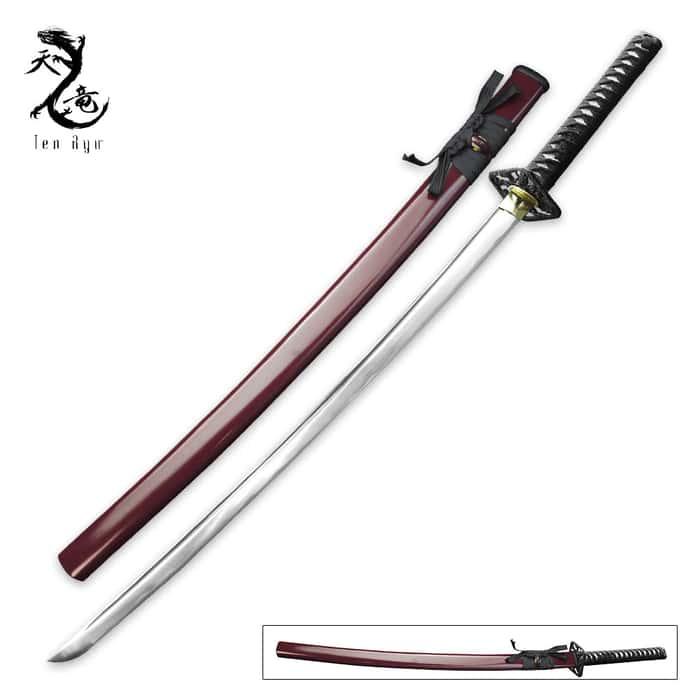 Ten Ryu Hand Forged Samurai Sword Burgundy