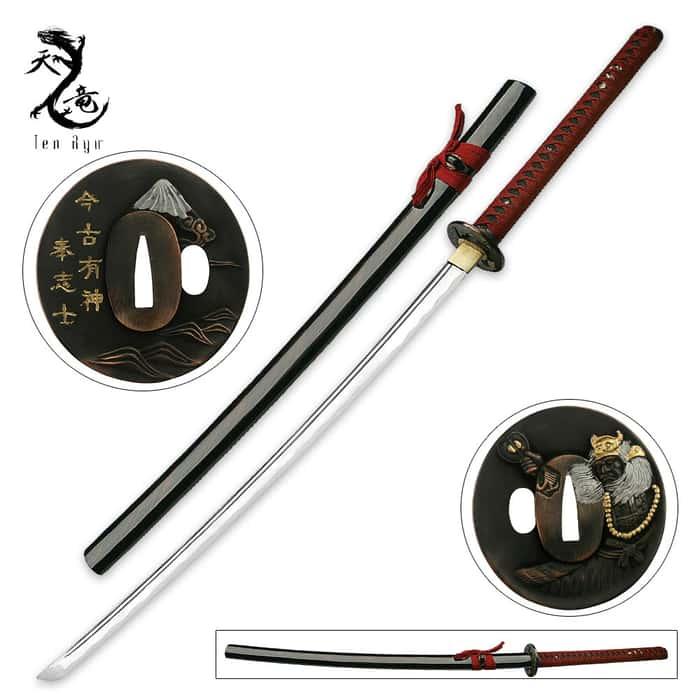 Ten Ryu Hand Forged Samurai Sword With Decorative Gold Tsuba