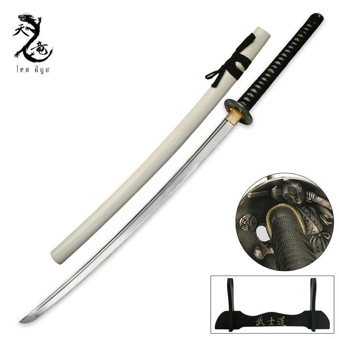 Ten Ryu Hand Forged Sword With White Scabbard