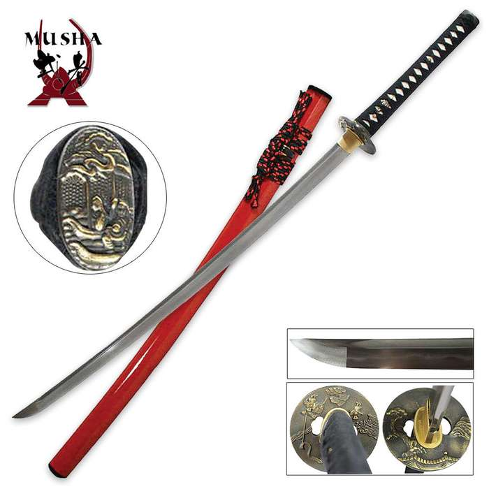 Hand Forged Samurai Sword with Red High Gloss Scabbard