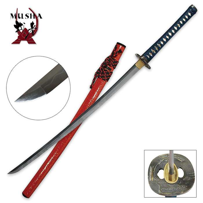 Hand Forged Samurai Sword with Flower Tsuba