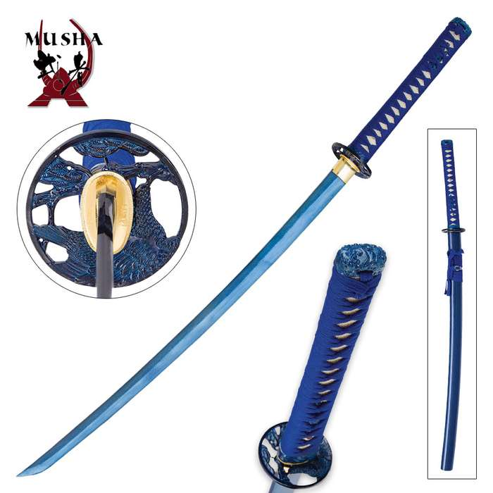Musha Hand-forged Blue Damascus Samurai Sword