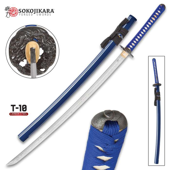 Sokojikara Turbulent Blue Handmade Katana / Samurai Sword - T10 High Carbon Steel, Hand Forged, Clay Tempered - Genuine Ray Skin; Iron Tsuba - Functional, Full Tang, Battle Ready