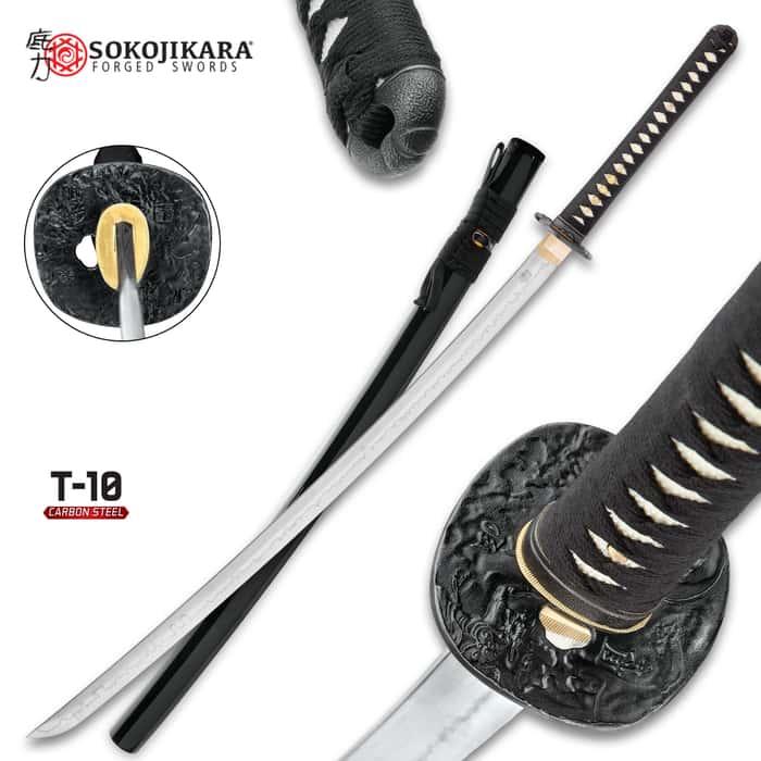 Sokojikara Scorn Handmade Katana / Samurai Sword - T10 High Carbon Steel, Hand Forged, Clay Tempered - Genuine Ray Skin; Iron Tsuba - Functional, Full Tang, Battle Ready