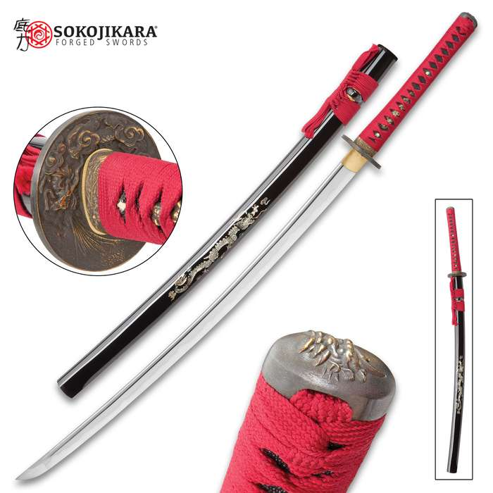 Sokojikara Pearl Zen Handmade Katana / Samurai Sword - Hand Forged, Clay Tempered 1045 Carbon Steel - Mother of Pearl Dragon Inlay - Ray Skin; Brass Tsuba - Functional, Full Tang, Battle Ready