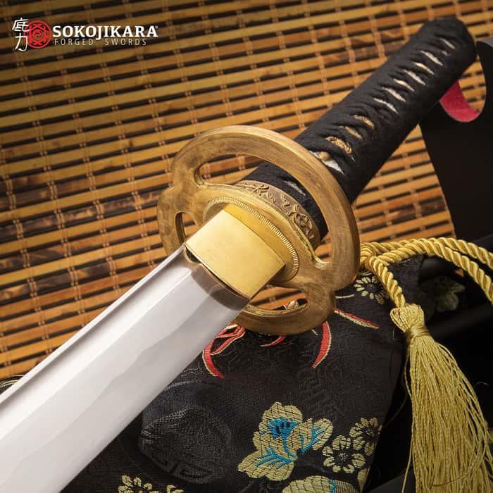 "Sokojikara Mayonaka Katana And Scabbard - Hand-Forged 1045 Carbon Steel Blade, Genuine Rayskin-Wrapped Handle - Length 39 1/2"""