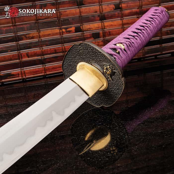 "Sokojikara Joker Katana With Scabbard - T10 Clay Tempered Steel Blade, Genuine Black Rayskin, Brass Fittings -Length 39 1/4"""