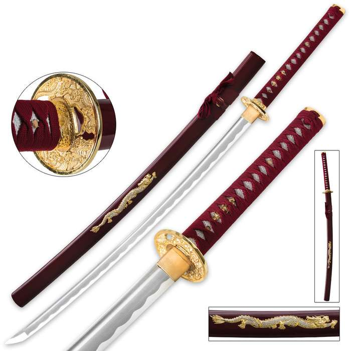Samurai Warrior Carbon Steel Katana Sword - Maroon