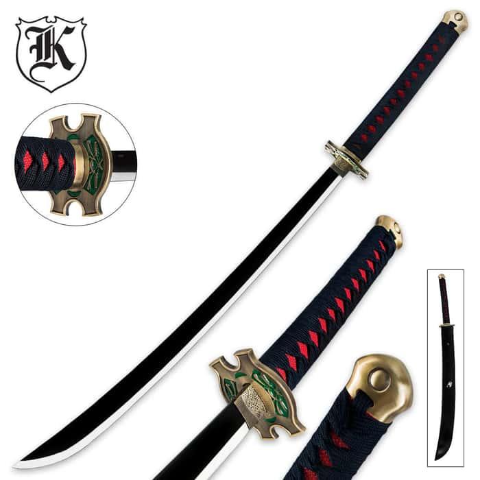 Anime Fantasy Samurai Sword  With Leather Scabbard