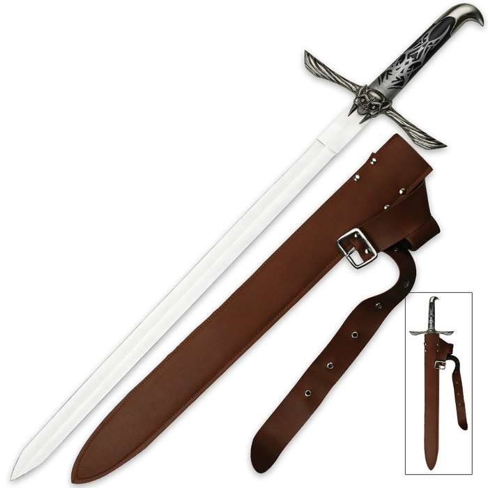 Winged Skull Long Sword with Belt Sheath