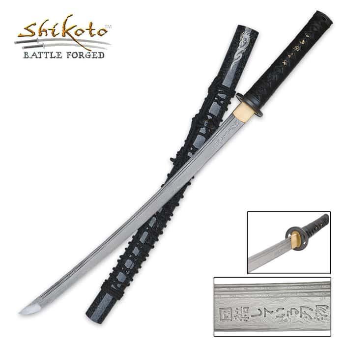 Shikoto Hand Forged Damascus Wakizashi Sword