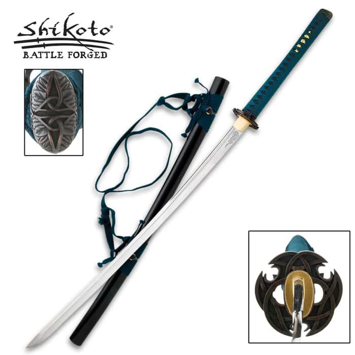 Shikoto Black Ao-Doragon Forged Katana 1045 Carbon Sword