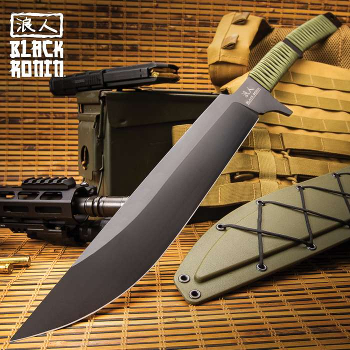 Black Ronin Tak-Kana Sword With Scabbard - One-Piece 3Cr13 Stainless Steel, Wrapped Handle, Lanyard Hole - Length 29 1/2""