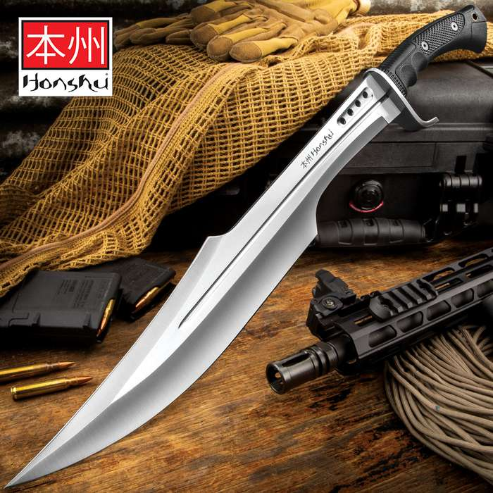Honshu Spartan Sword And Sheath - 7Cr13 Stainless Steel Blade, Grippy TPR Handle, Stainless Steel Guard - Length 23""