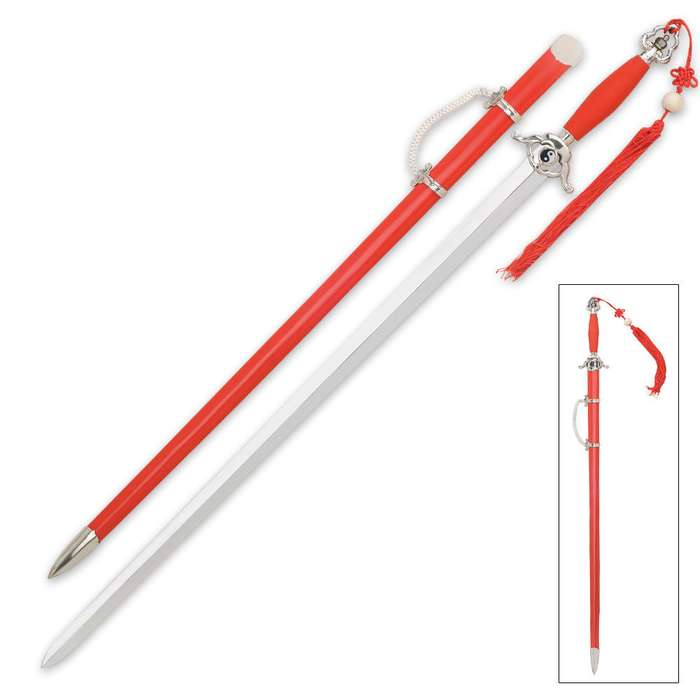 Traditional Red Taichi Sword With Scabbard