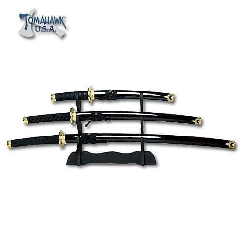 3 Piece Black Japanese Sword Set