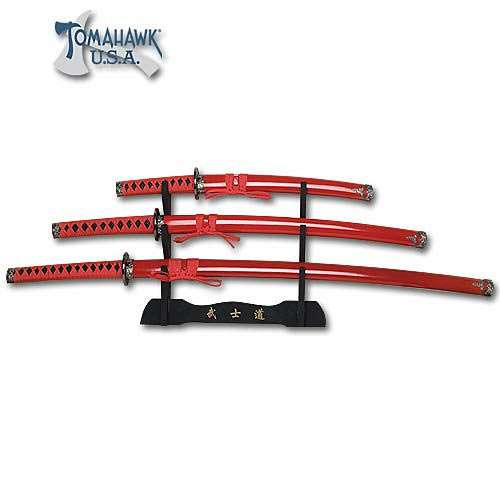 3 Piece Samurai Red Dragon Sword Set with Stand