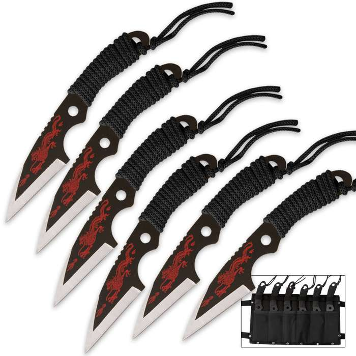 7.5 Inch Dragon Throwing Knife 6 Pc. Set