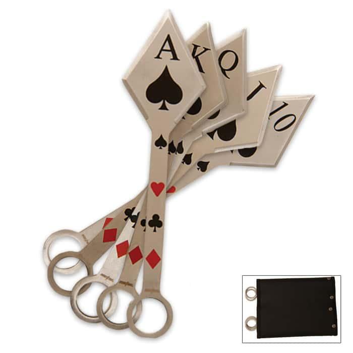 5 Pc. Texas Hold Em Poker Throwing Knife Set